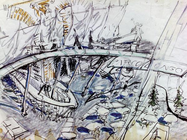 Nigel Coates, Caffè Bongo, Tokyo, disegno, 1986.
