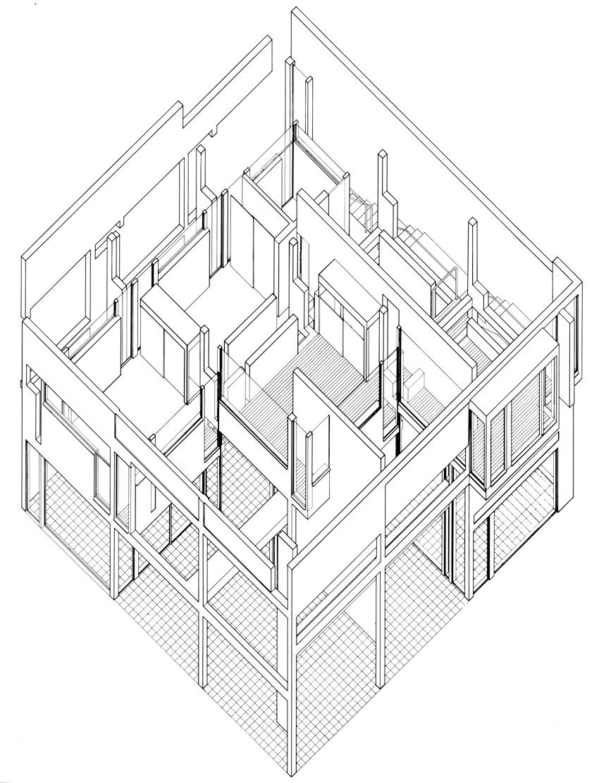 Peter Eisenman, House II, Hardwick, Vermont, 1969-1970. Disegno assonometrico/Axonometric drawing. Courtesy: Eisenman Architects
