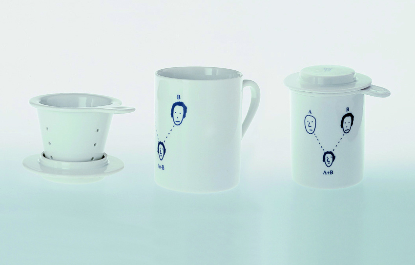 Andrea Branzi, Genetic Tales, 1998. Design for Alessi. White porcelain mugs with blue decoration.