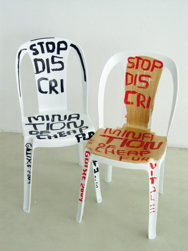 Martí Guixé, Stop discrimination of cheap furniture, 2004. Photo: Imagekontainer/Knölke