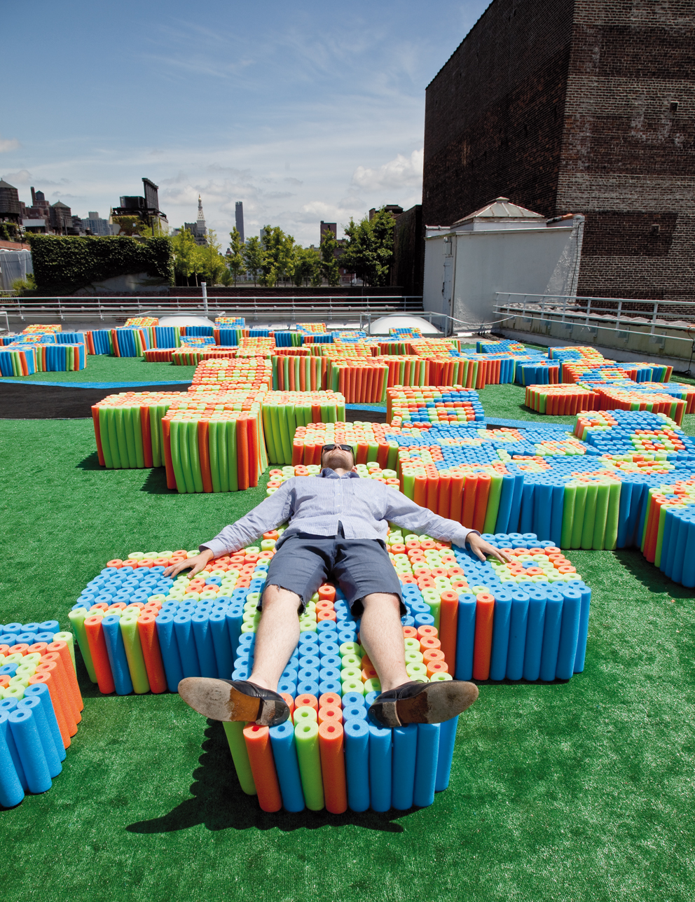 Jeffrey Inaba, Pool Noodle Rooftop, 2009. X-Initiative, New York
