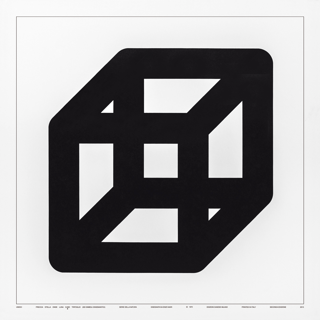 Sei Simboli Sinsemantici: Undici, Cubo, design di Enzo Mari per Danese Milano, 1972.