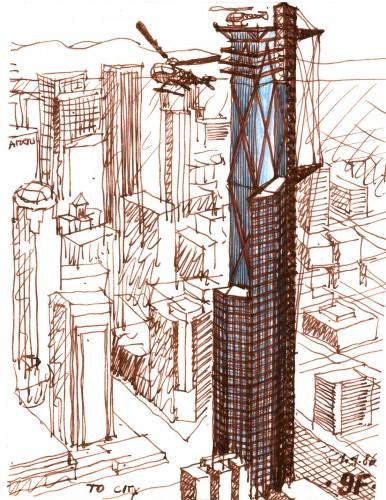 Murphy Jahn, Figueroa Tower, 1987. (Courtesy Jahn)