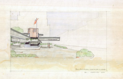 Rudolph Schindler, Union Oil Gas Station, 1933. (Art Design and Architecture Library UCSB)