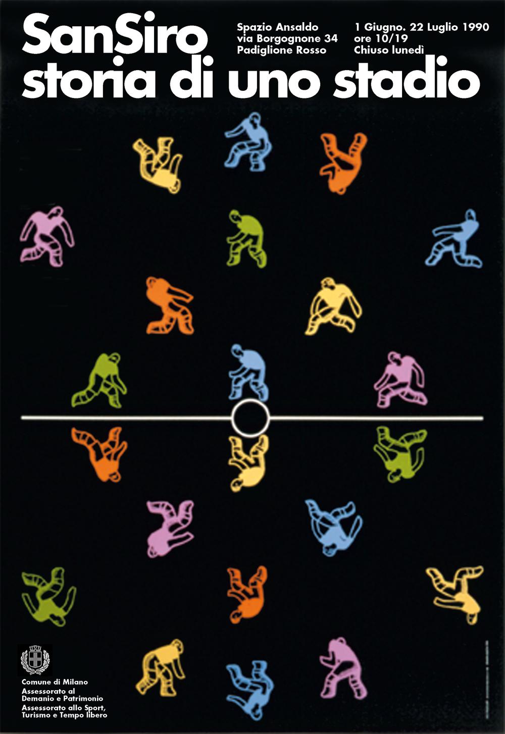 Riapertura dello stadio di San Siro: manifesto per la mostra allo Spazio Ansaldo di Milano, 1990. / Re-opening of San Siro Stadium: poster for the Ansaldo Space in Milan, 1990.