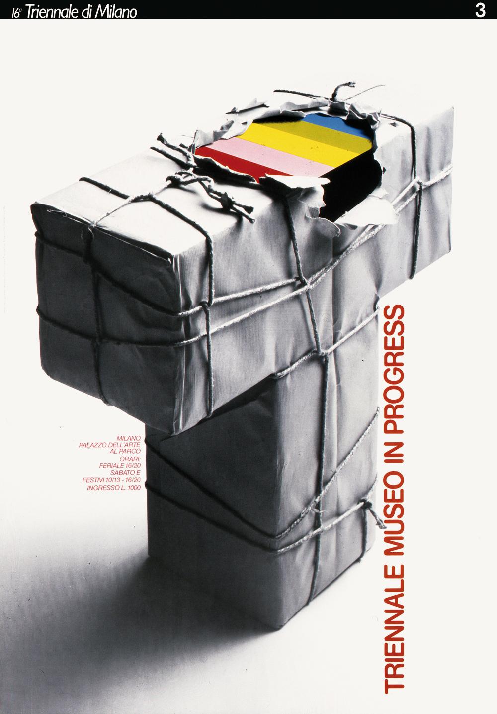 Triennale, nuovo simbolo. Manifesto disegnato con Alberto Marangoni, 1985. / Triennale, new symbol. Poster designed with Alberto Marangoni, 1985.