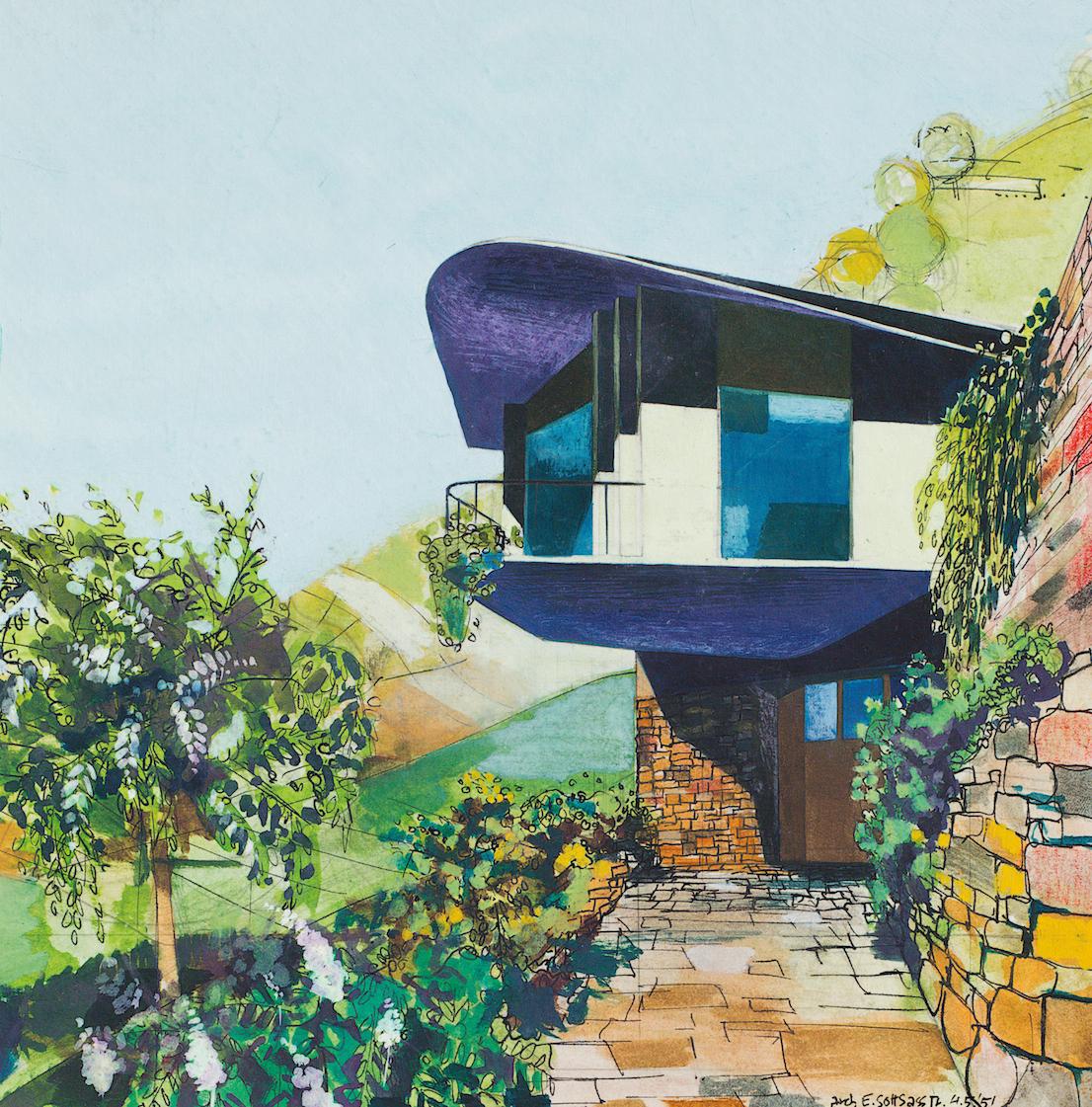 Studio per Villa Lora Totino, Torino, 1951. Courtesy Archivio Ettore Sottsass.