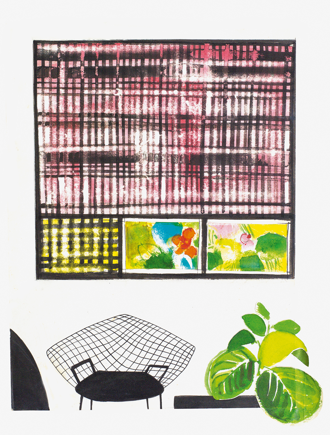Studio per un appartamento con dipinti di Capogrossi, 1957. Courtesy Archivio Ettore Sottsass.