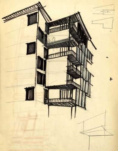 Torre al Parco Sempione, via Revere 2, 1953/56, progetto di Vico Magistretti con F. Longoni. Schizzo. Coutesy: Archivio Studio Magistretti