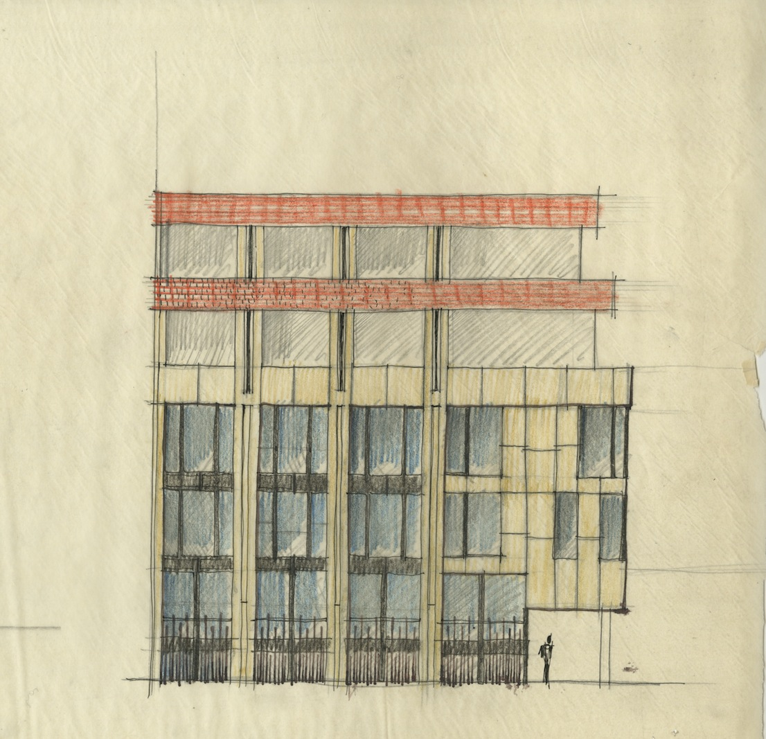 Edificio per uffici e abitazioni, via Leopardi 15-17, 1958/61, progetto di Vico Magistretti con G. Veneziani. Schizzo. Courtesy: Archivio Studio Magistretti.