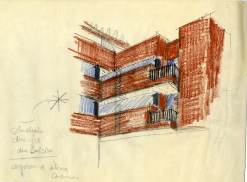 Edificio per uffici e abitazioni, via Conservatorio 22, 1963/66. Progetto di Vico Magistretti. Schizzo. Courtesy: Archivio Studio Magistretti.