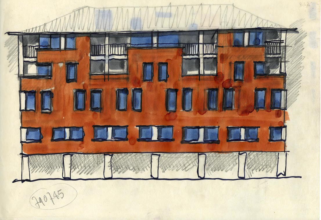 Edificio per uffici, abitazioni e negozi, piazza San Marco 1, 1966/73. Progetto di Vico Magistretti. Courtesy: Archivio Studio Magistretti.