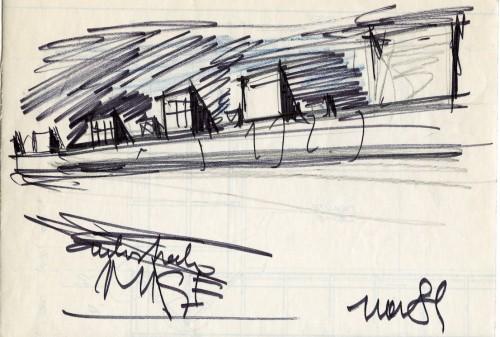 Deposito MM Famagosta, via San Paolino 7, 1989/2000. Progetto di Vico Magistretti. Schizzo. Courtesy: Archivio Studio Magistretti.