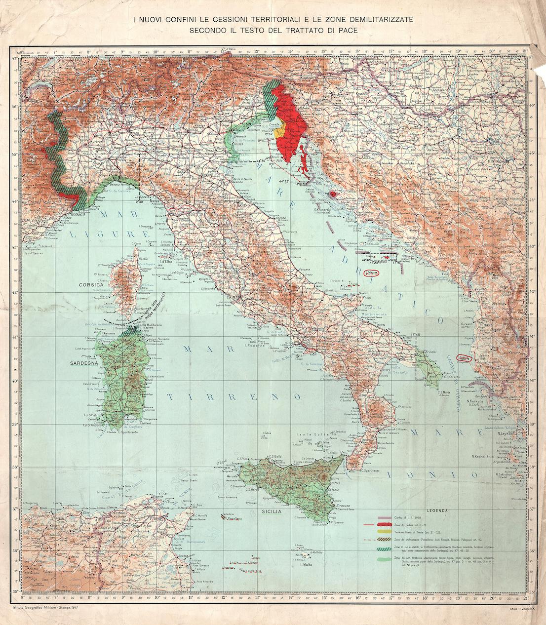 Carta d'Italia del 1947 riportante gli accordi di confine stabiliti nel Trattato di Pace di Parigi (dai tipi dell'Istituto Geografico Militare).