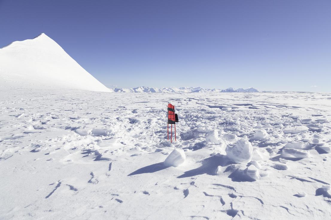 The solar-powered GPS sensors on the Similaun glacier. Photo by Delfino Sisto Legnani, May 2014.