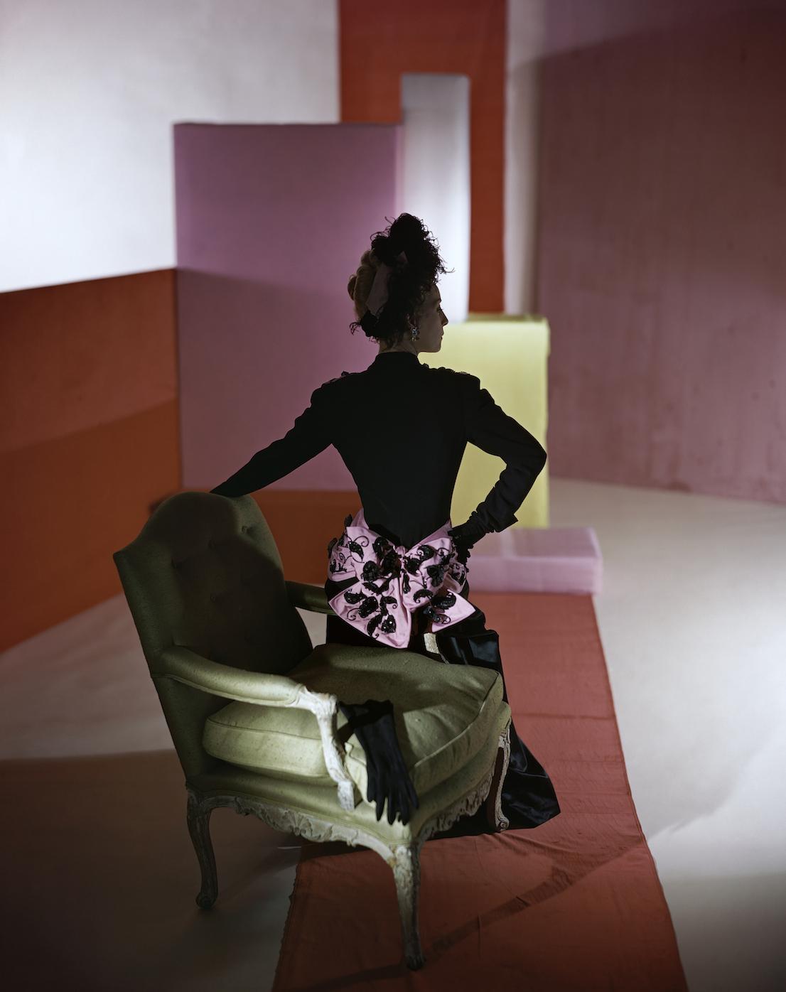 Dinner suit and headdress by Schiaparelli, 1947. © Condé Nast / Horst Estate.