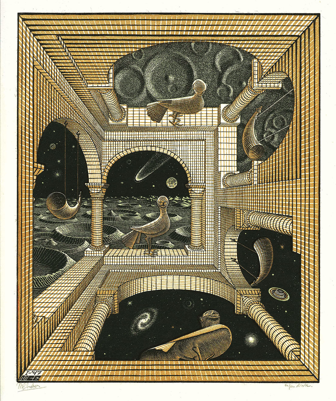 Maurits Cornelis Escher Altro mondo II 1947 litografia cm 31,8 x 26,1 Collezione privata All M.C. Escher works © 2014 The M.C. Escher Company. All rights reserved www.mcescher.com