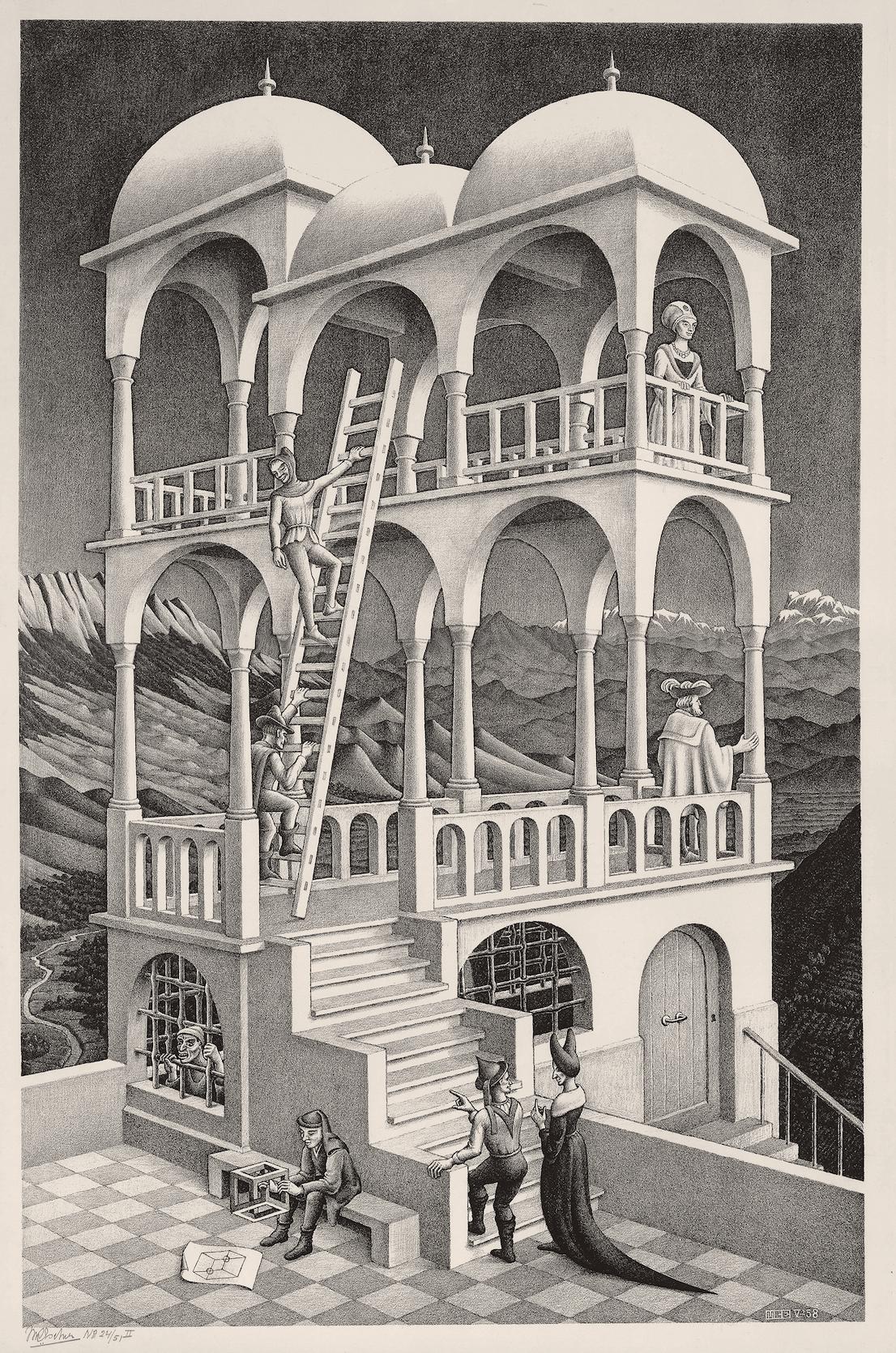 Maurits Cornelis Escher Belvedere maggio 1958 litografia, 462 x 295 mm Collezione Federico Giudiceandrea All M.C. Escher works © 2014 The M.C. Escher Company. All rights reserved www.mcescher.com