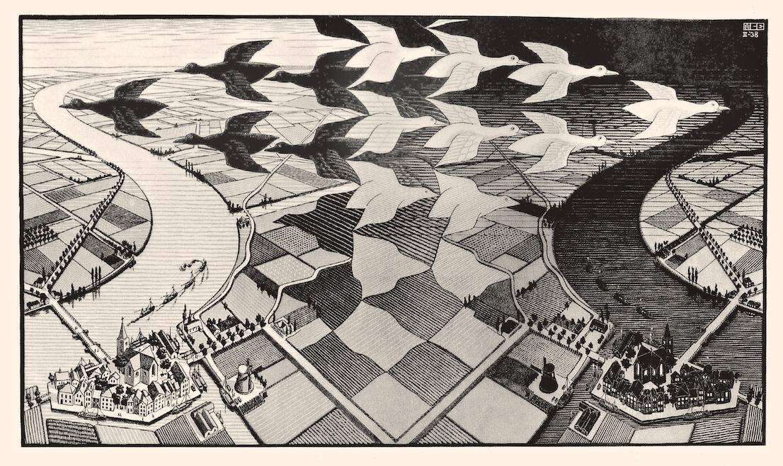 Maurits Cornelis Escher Giorno e notte 1938 xilografia cm 39,1 x 67,7 Baarn, M.C. Escher Foundation All M.C. Escher works © 2014 The M.C. Escher Company. All rights reserved www.mcescher.com