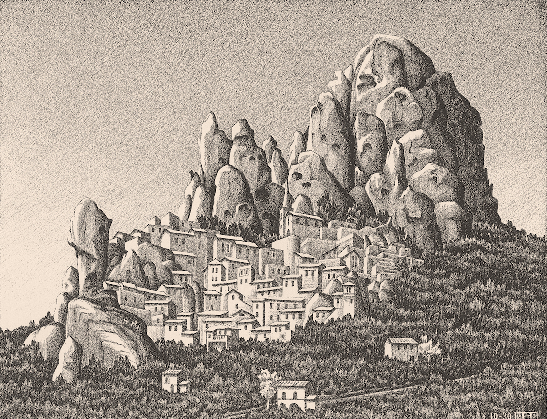 Maurits Cornelis Escher Pentedattilo, Calabria ottobre 1930 litografia, 197 x 255 mm Collezione Federico Giudiceandrea All M.C. Escher works © 2014 The M.C. Escher Company. All rights reserved www.mcescher.com
