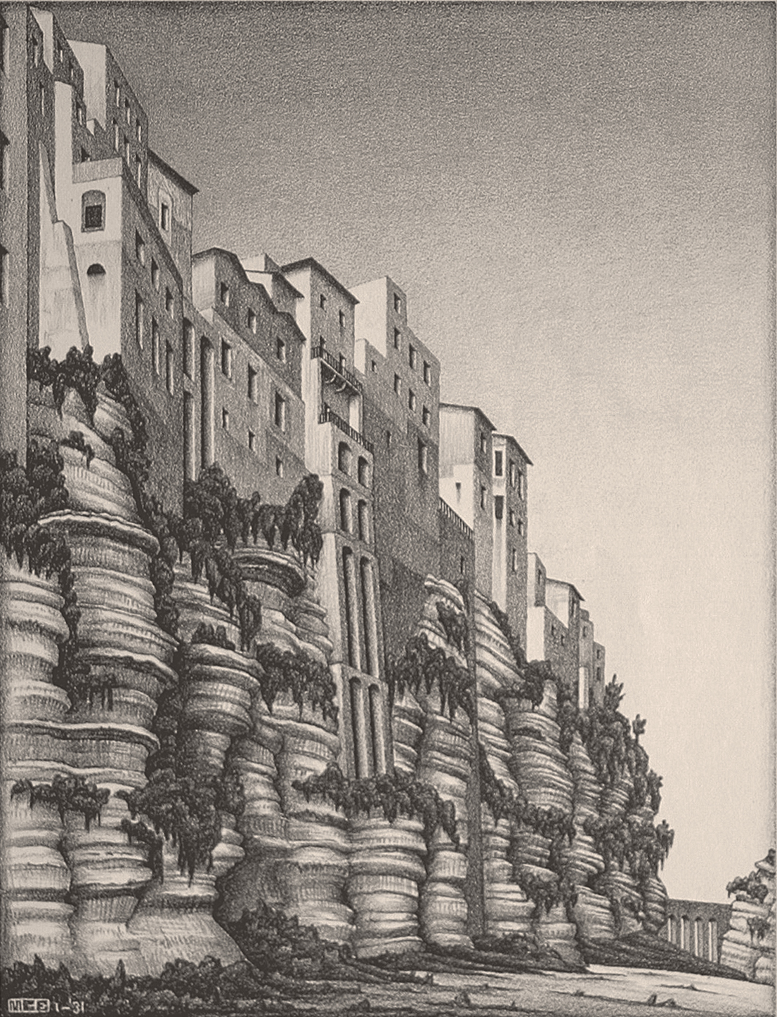 Maurits Cornelis Escher Tropea, Calabria 1931 litografia 313 x 235 mm Collezione Federico Giudiceandrea All M.C. Escher works © 2014 The M.C. Escher Company. All rights reserved www.mcescher.com