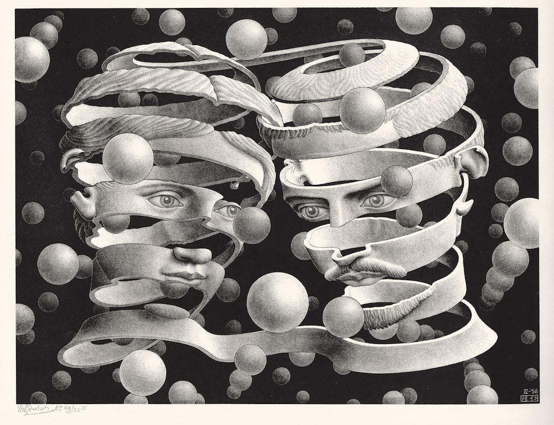 Maurits Cornelis Escher Vincolo d'unione 1956 litografia cm 25,3 x 33,9 Collezione Federico Giudiceandrea All M.C. Escher works © 2014 The M.C. Escher Company. All rights reserved www.mcescher.com