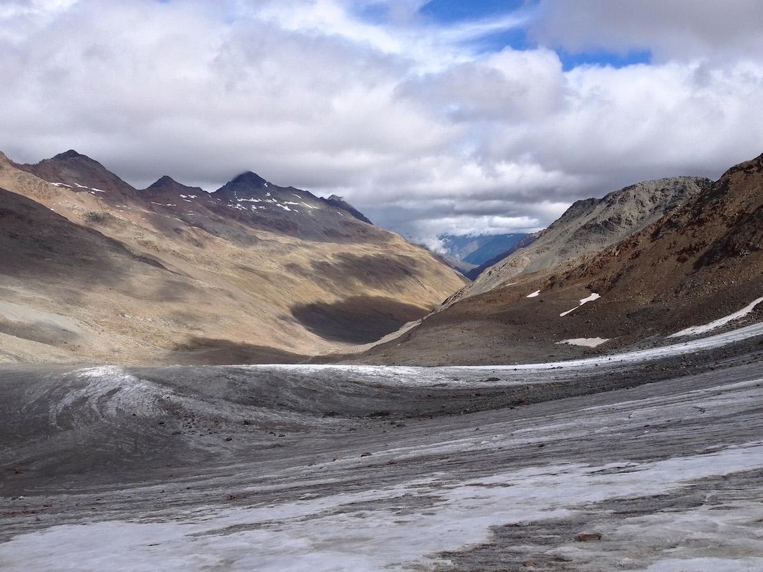 Il letto del ghiacciaio del Similaun (Niederjoch Ferner) oramai vuoto, 21 settembre 2014.