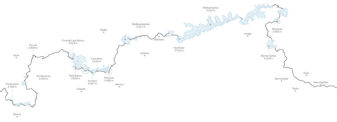 Tratto del Confine di Stato italo-austriaco, con in evidenza i ghiacciai sulla displuviale. Le lettere A, B, C e D indicano le viste ravvicinate dei tratti di confine mobile presi in esame nell'immagine successiva. Courtesy of Italian Limes.