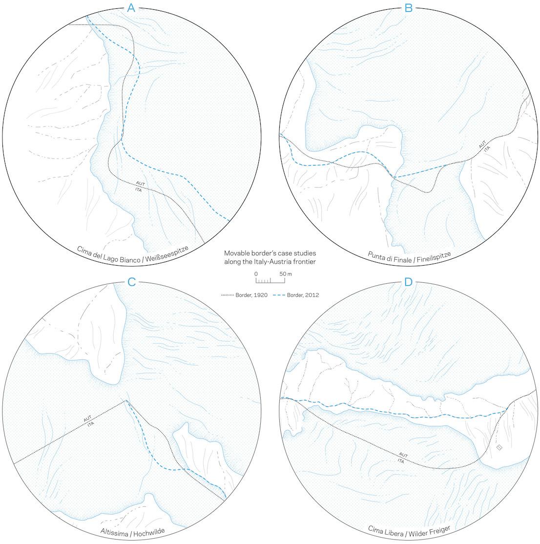 Casi studio di tratti di confine mobile su ghiacciaio lungo la displuviale fra Italia e Austria. Courtesy of Italian Limes.