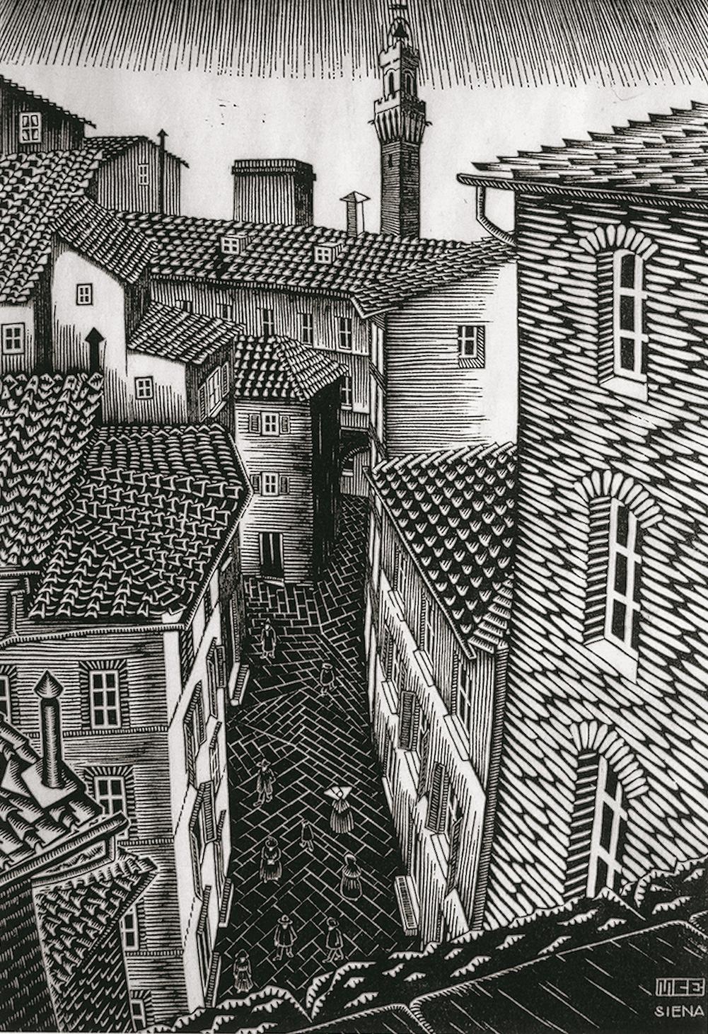 Maurits Cornelis Escher (Tetti di) Siena 1922 xilografia 323 x 219 mm Collezione Federico Giudiceandrea All M.C. Escher works © 2014 The M.C. Escher Company. All rights reserved www.mcescher.com
