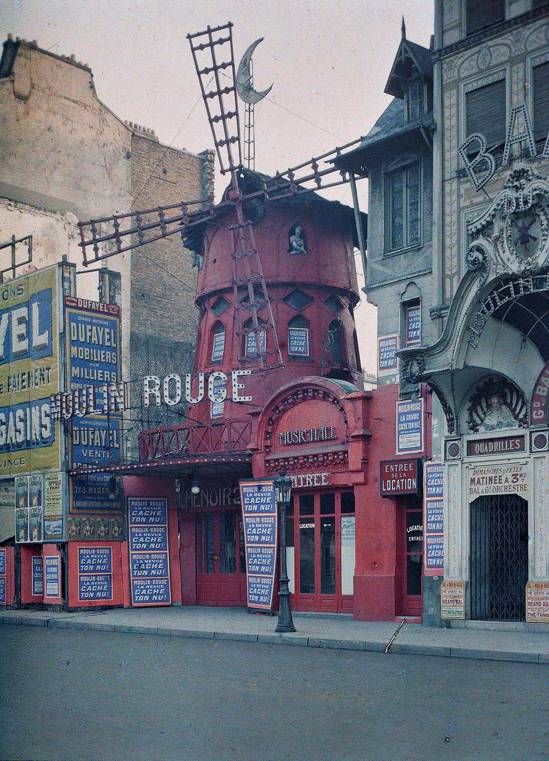 Albert Kahn, Les Archives de la planete Stephane Passet Frankreich, Paris, XVIII. arr., boulevard de Clichy, Le Moulin Rouge, Juni-Juli 1914