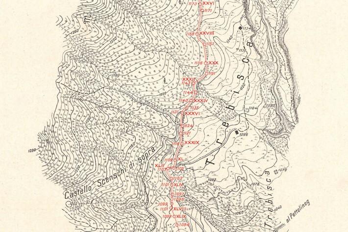 Carta del confine fra Regno d'Italia e Regno S.H.S. (Serbia, Croazia, Slovenia), 1919, dettaglio. La carta rappresenta la linea di confine ed il suo profilo, con l'indicazione di tutti i cippi principali e secondari. L'equidistanza fra le curve di livello è di 5 metri (dai tipi dell'Istituto Geografico Militare).