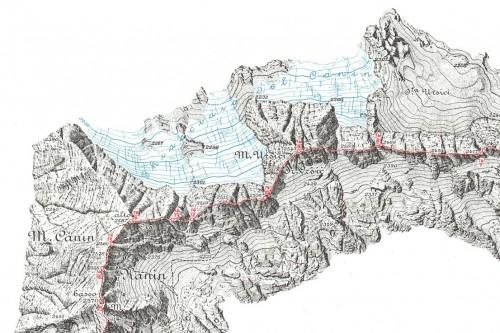 Carta del confine fra Repubblica Italiana e Repubblica Socialista Federale di Jugoslavia, 1951, dettaglio. La carta, basata sul rilievo aerofotogrammetrico eseguito dall'IGM, rappresenta la linea di confine ed il suo profilo, con l'indicazione di tutti i termini di confine. L'equidistanza fra le curve di livello è di 10 metri (dai tipi dell'Istituto Geografico Militare).