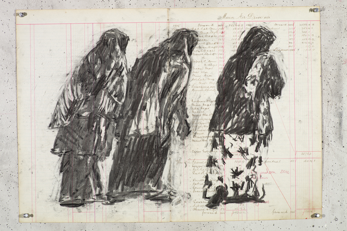 William Kentridge, Drawing for Triumphs & Laments, 2014.