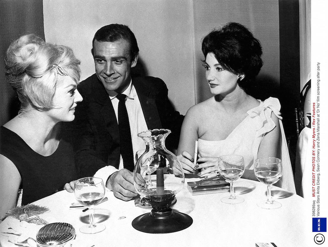 Anita Ekberg, Sean Connery and Zena Marshall at 'Dr No' film screening after party Various Stars Photo by Harry Myers / Rex Features