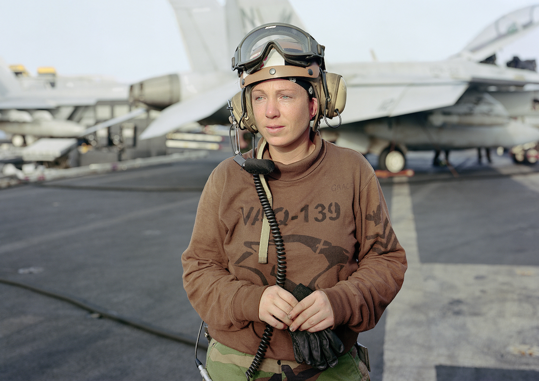 An-My Lê, Line Shack Supervisor for EA-6B Prowler, USS Ronald Regan, North arabian Gulf, 2009, from Events Ashore (Aperture, 2014). © An-My Lê, courtesy Murray Guy Gallery, New York.