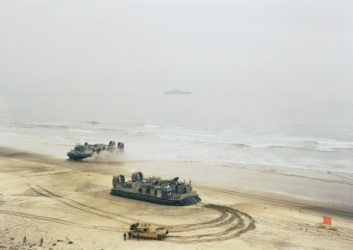 An-My Lê, Offload, LCACs and Tank, California, 2006, from Events Ashore (Aperture, 2014). © An-My Lê, courtesy Murray Guy Gallery, New York.