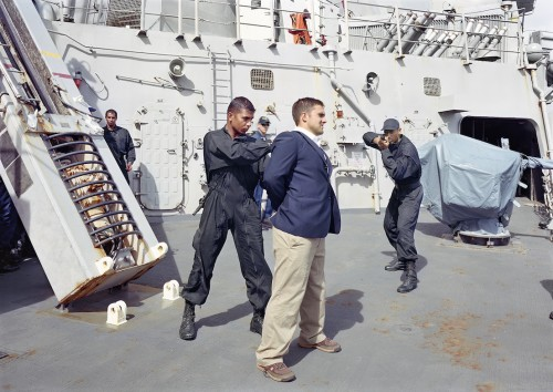 An-My Lê, Visit, Board, Search and Seizure Operations, USS Arleigh Burke, Port Louis, Mauritius, 2009, from Events Ashore (Aperture, 2014). © An-My Lê, courtesy Murray Guy Gallery, New York.