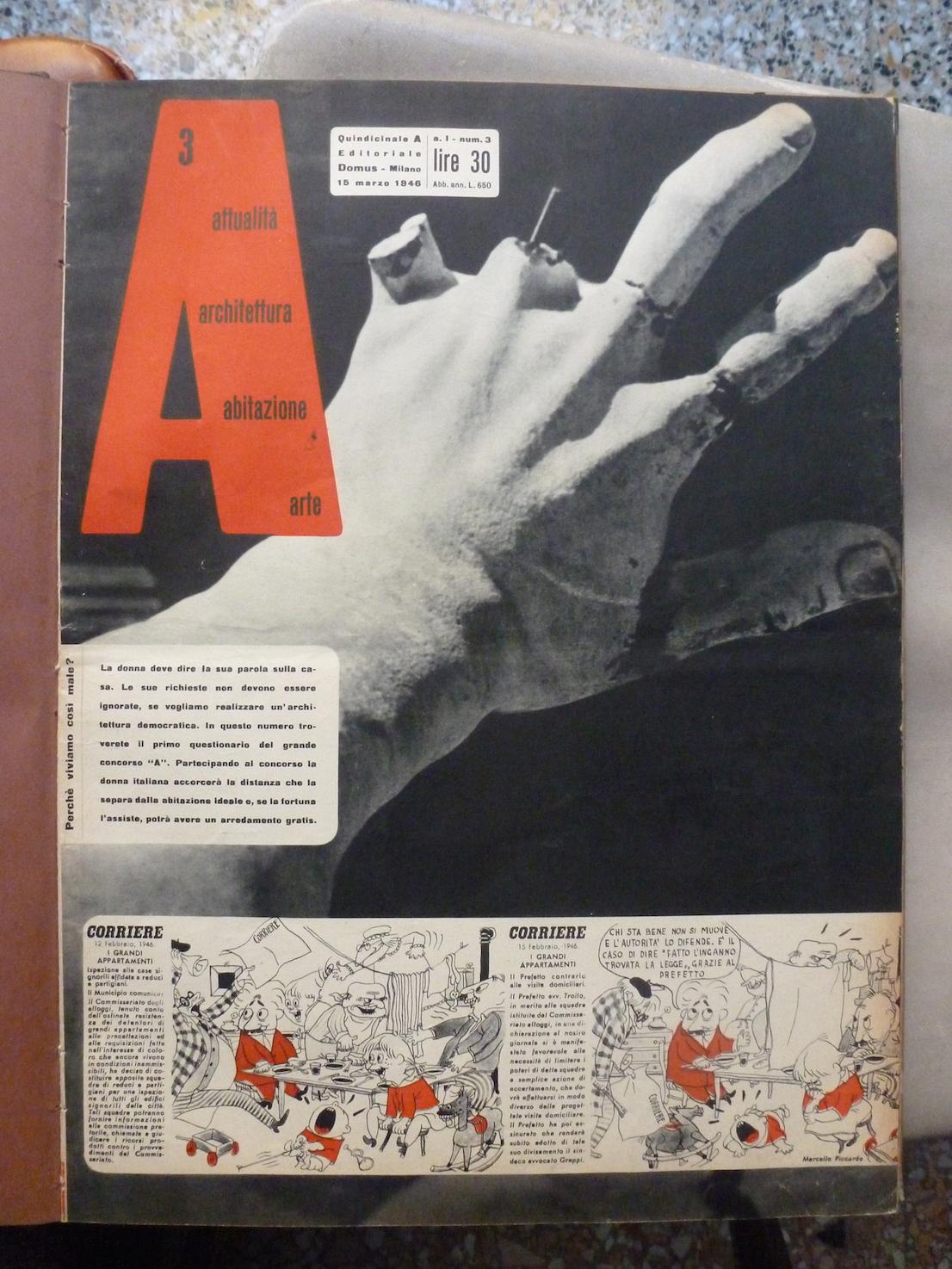 A, 3 marzo 1946. Copertina. Courtesy: Editoriale Domus.