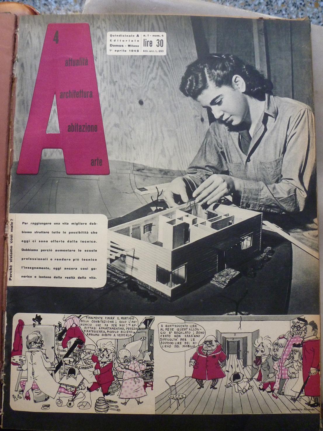 A, 4 aprile 1946. Copertina. Courtesy: Editoriale Domus.