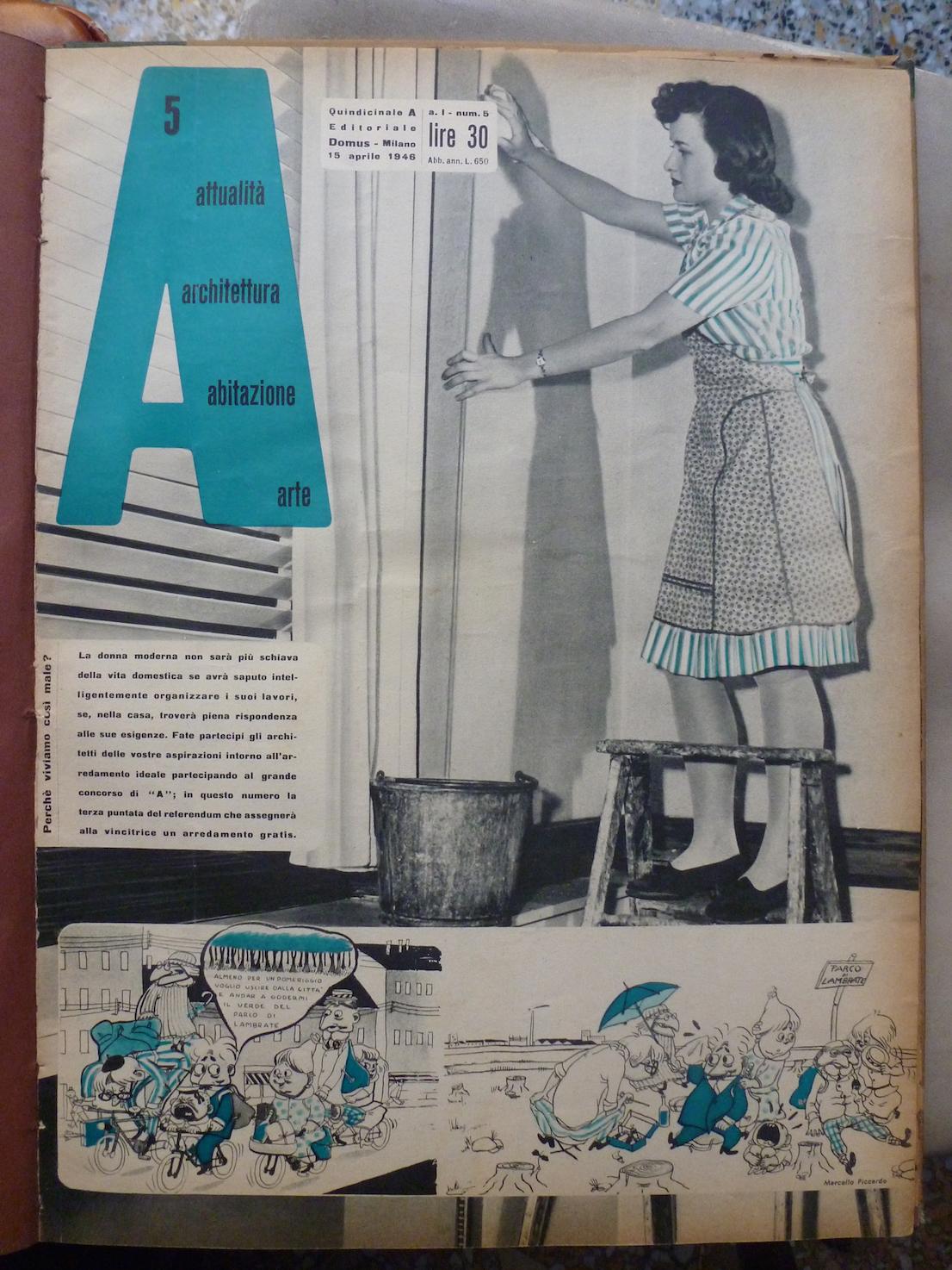 A, 5 aprile 1946. Copertina. Courtesy: Editoriale Domus.