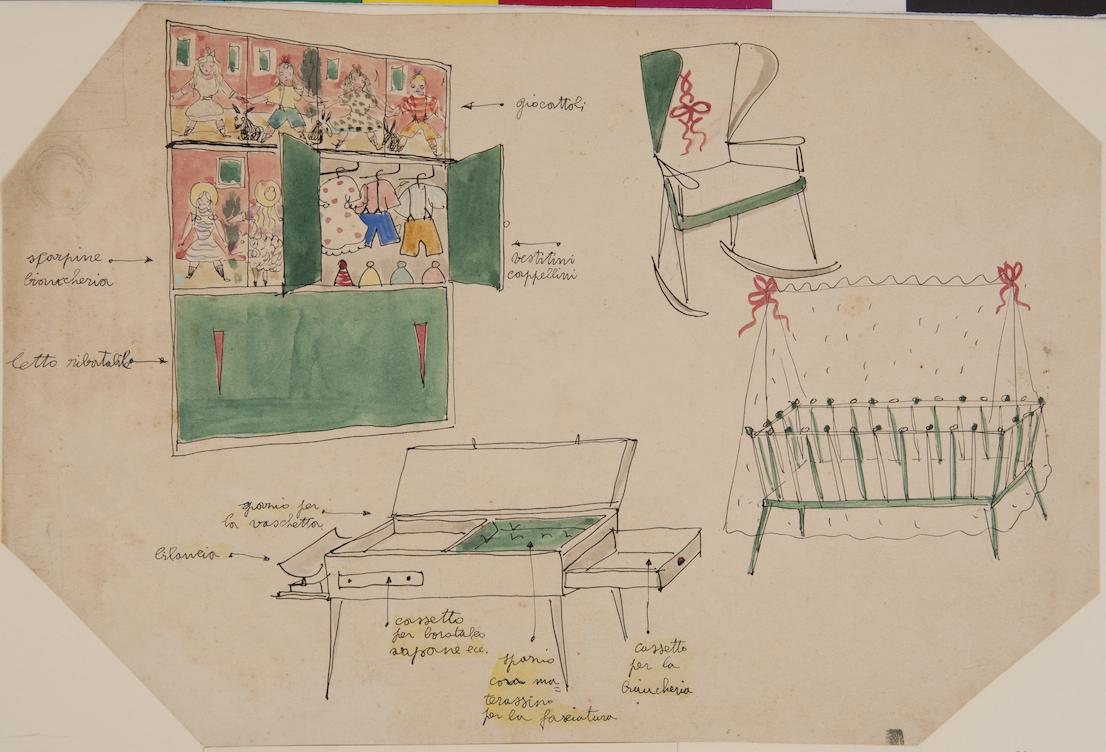 Lina Bo Bardi, prospettive di mobili della stanza del bambino