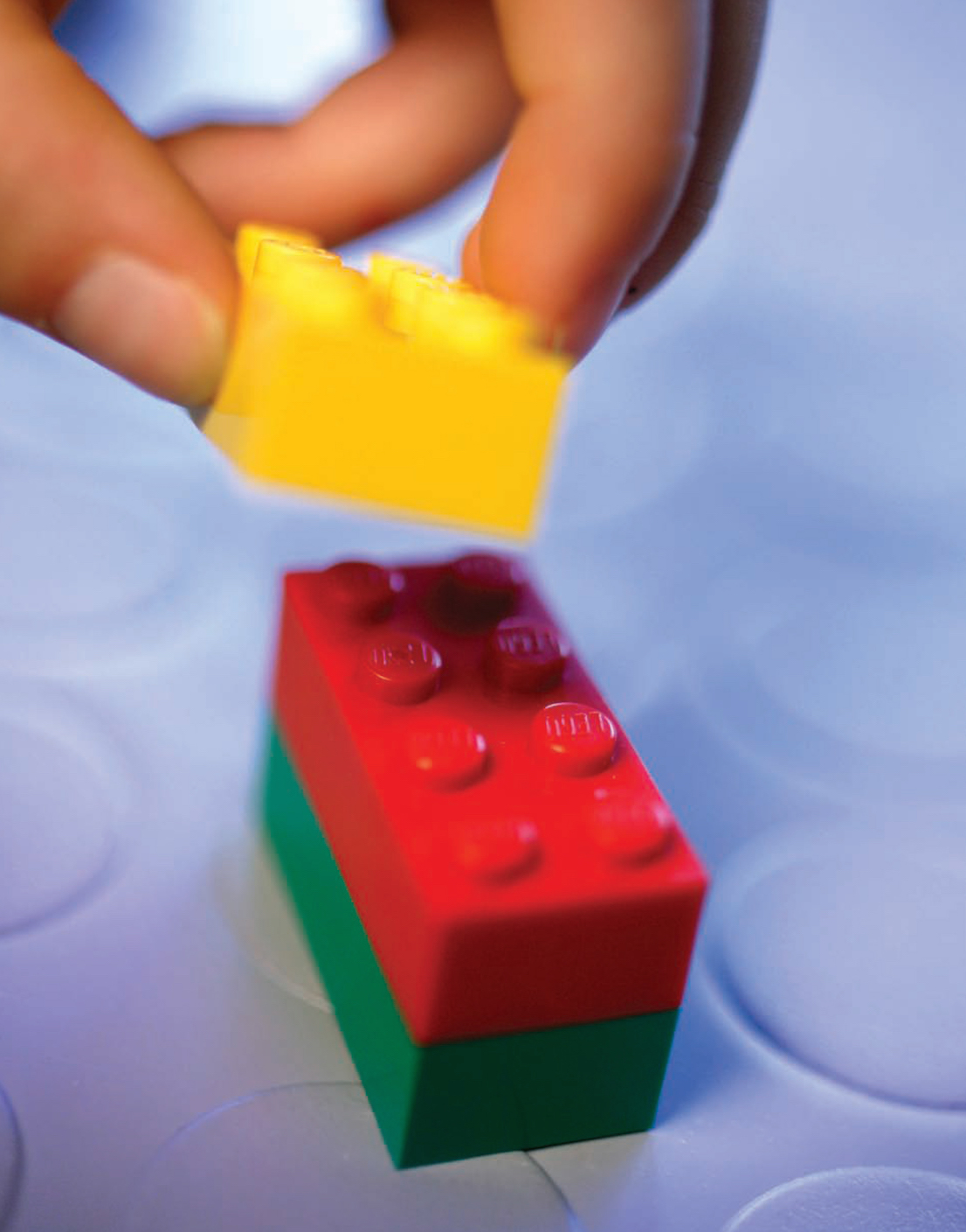 Mattoncini Lego / Lego bricks being stacked. Courtesy: The LEGO Group.