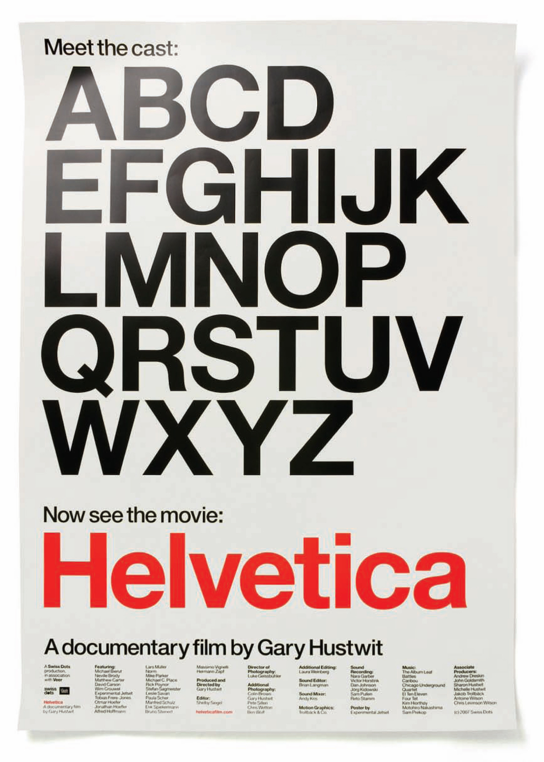 """Meet The Cast"", film poster for Helvetica, 2007."