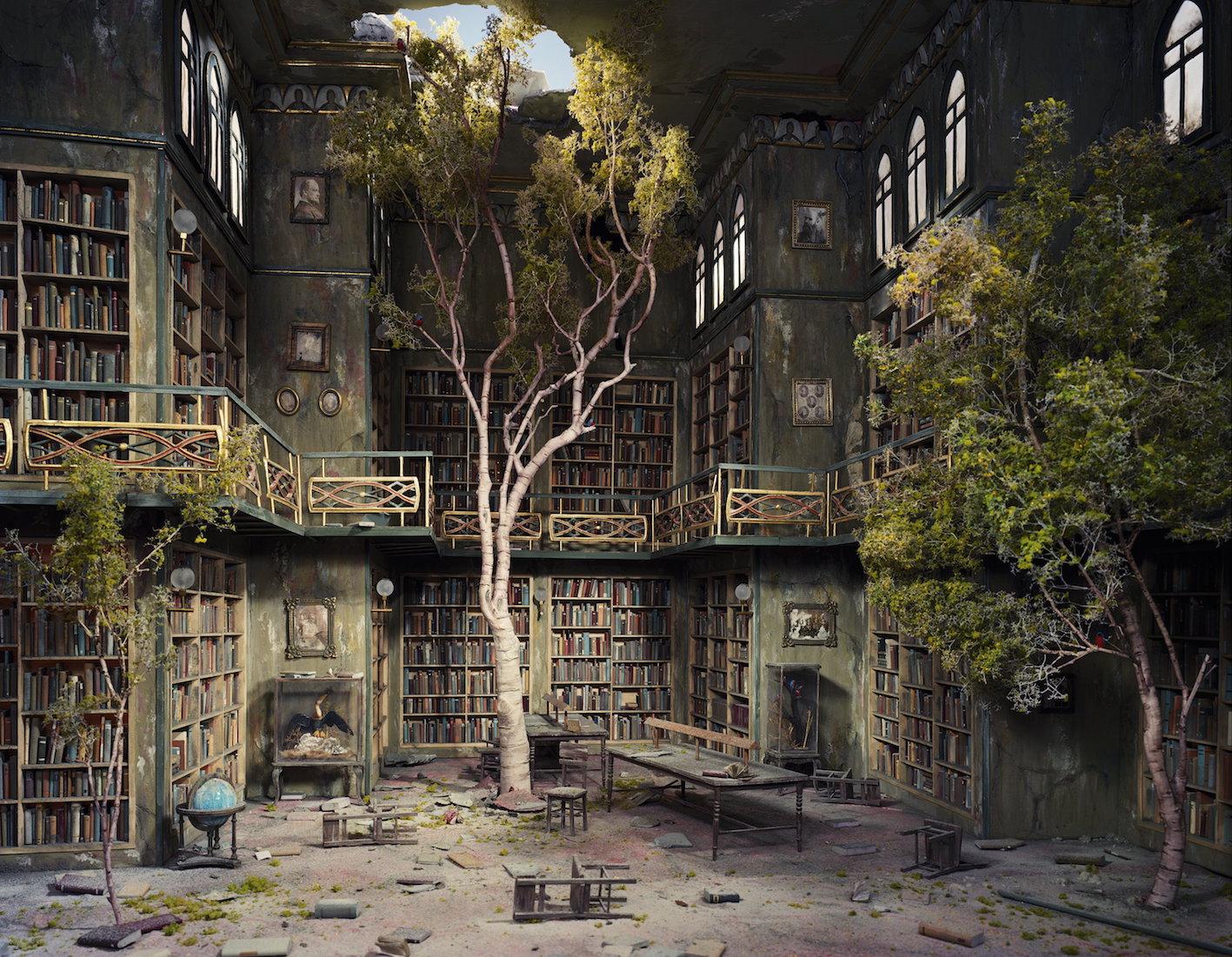 © Lori Nix, Library, 2007.