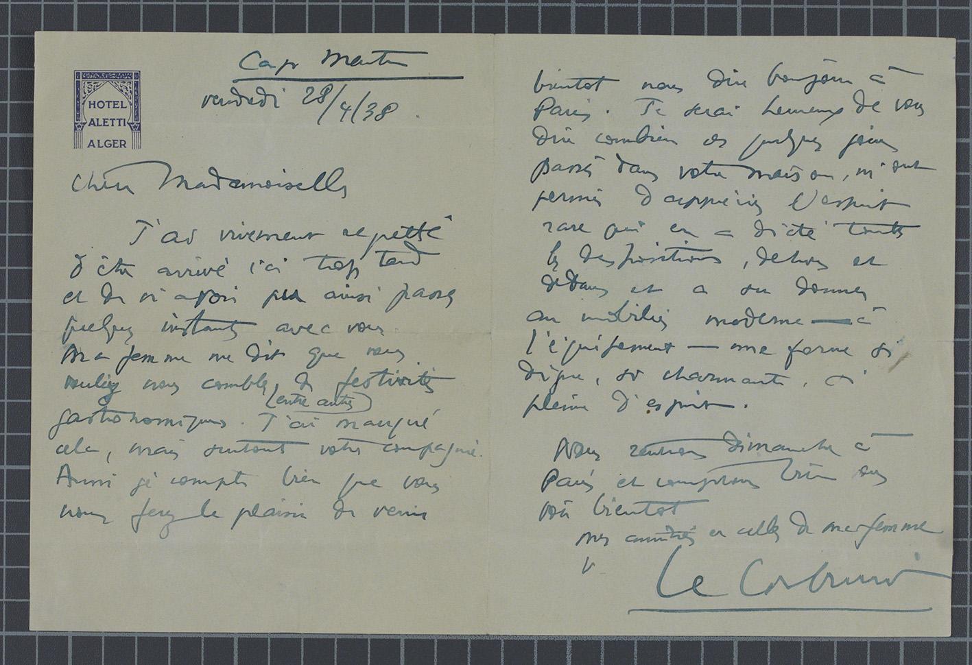 Lettera da Le Corbusier a Eileen Gray. / Letter from Le Corbusier to Eileen Gray. ©NMI.