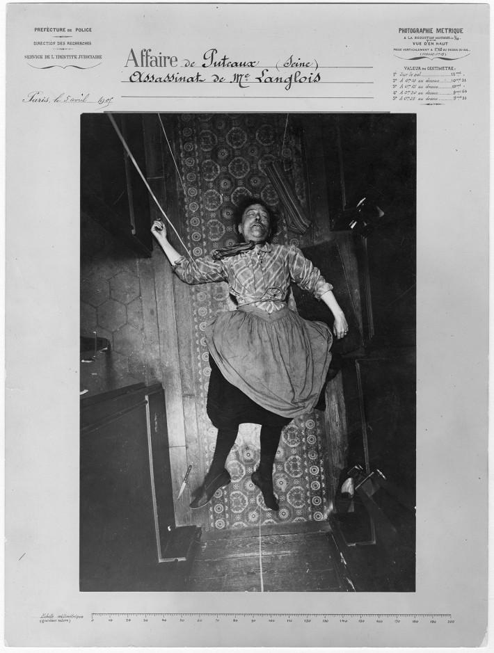 Alphonse Bertillon, assassinio di Madame Langlois, il caso di Puteaux, 5 aprile 1905, vista per capovolgimento, Service de l'Identité judiciaire. © Archives de la Préfecture de police de Paris.