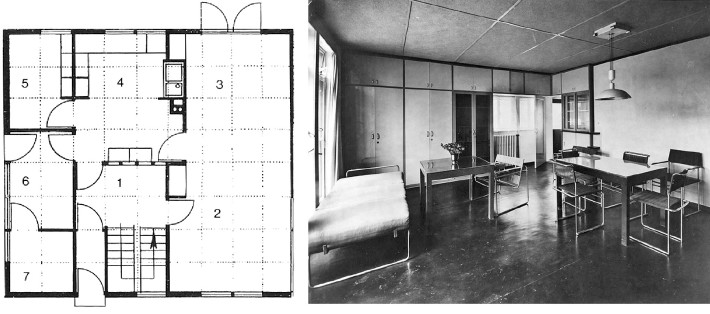 Plan and interior of Walter Gropius's House 17, a design for prefabricated housing presented at the Werkbund exhibition in Stuttgart in 1927.