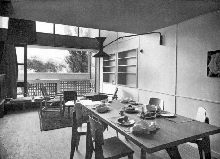 Contemporary photo of the living area of Le Corbusier's Unité d'Habitation. Marseille, 1947-52.
