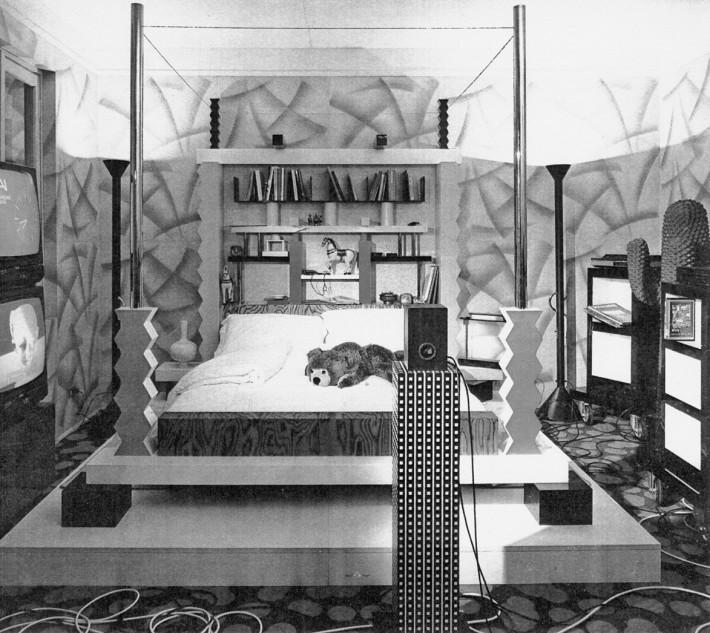 Camera da letto disegnata da Ettore Sottsass jr per la mostra Il progetto domestico. La casa dell'uomo: archetipi e prototipi, XVII Triennale di Milano del 1986 (© Ettore Sottsass, by SIAE 2015).
